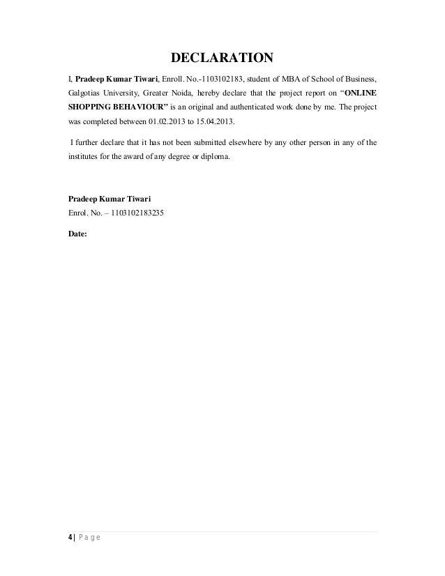 4 | P a g e DECLARATION I, Pradeep Kumar Tiwari, Enroll. No.-1103102183, student of MBA of School of Business, Galgotias U...