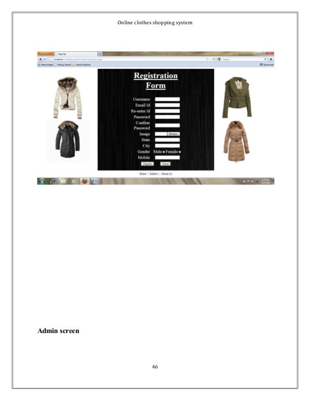 Online clothes shopping system  Admin screen  46