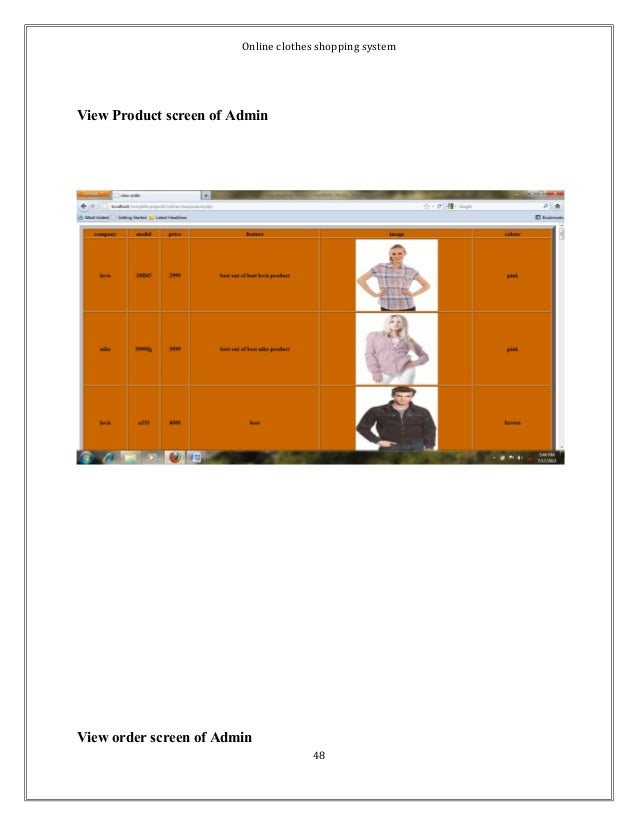 Online clothes shopping system  View Product screen of Admin  View order screen of Admin  48