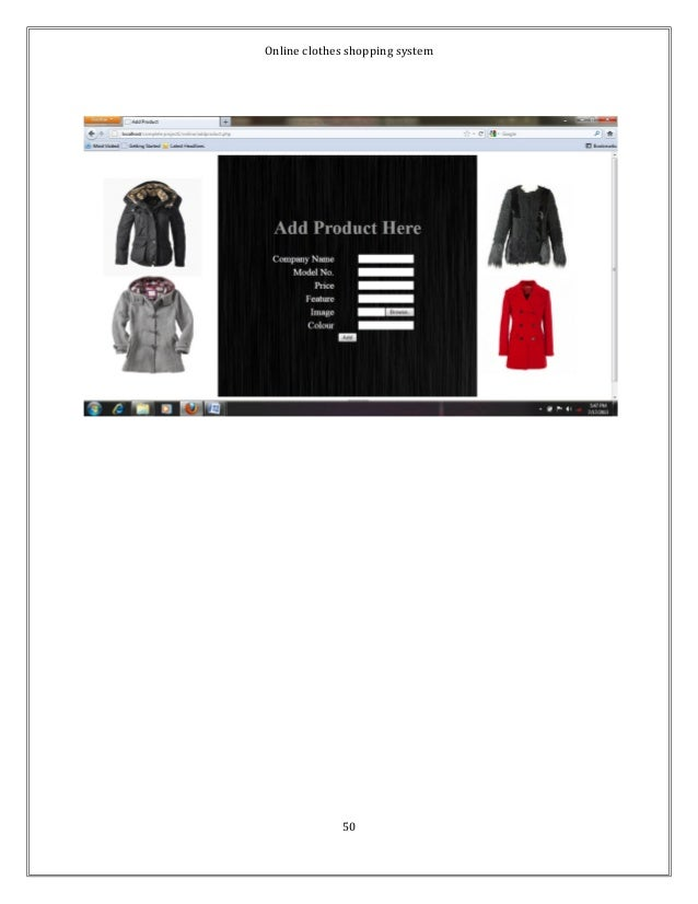 Online clothes shopping system  50