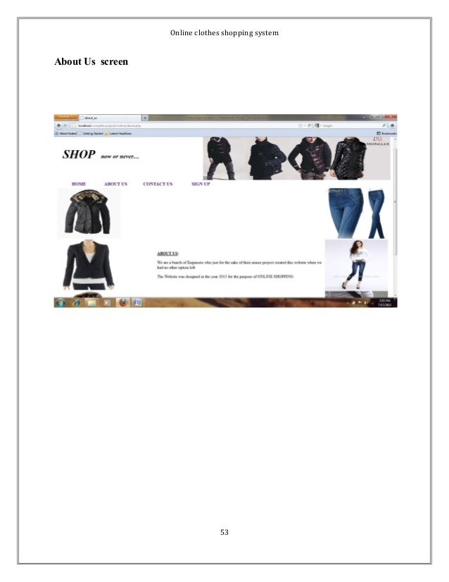 Online clothes shopping system  About Us screen  53