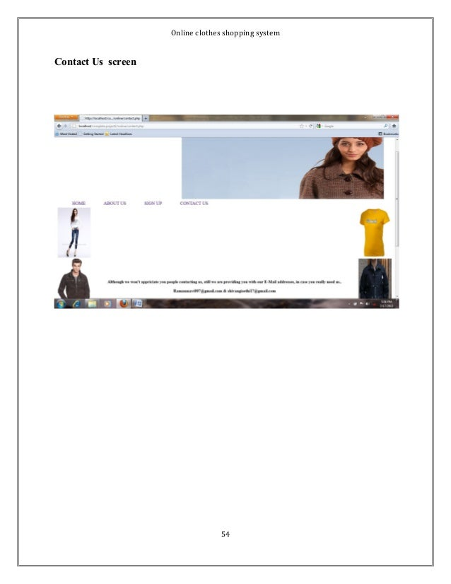 Online clothes shopping system  Contact Us screen  54