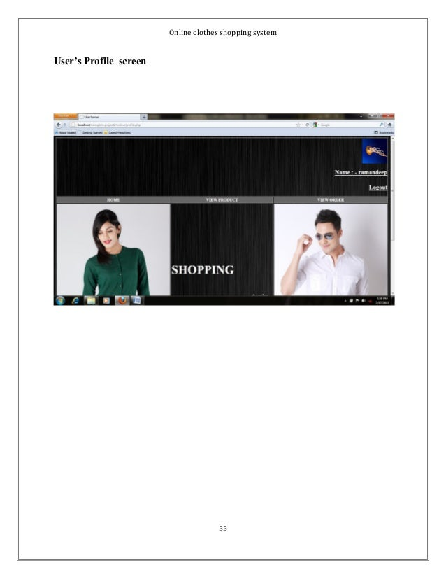 Online clothes shopping system  User's Profile screen  55