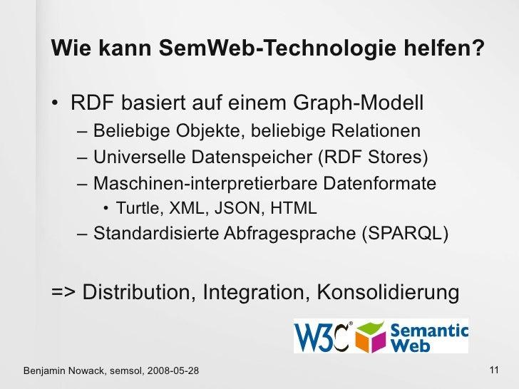 Wie kann SemWeb-Technologie helfen?       • RDF basiert auf einem Graph-Modell           – Beliebige Objekte, beliebige Re...
