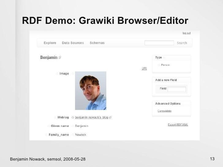 RDF Demo: Grawiki Browser/Editor     Benjamin Nowack, semsol, 2008-05-28     13