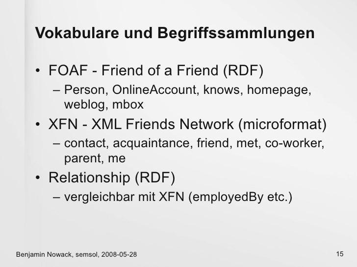 Vokabulare und Begriffssammlungen       • FOAF - Friend of a Friend (RDF)           – Person, OnlineAccount, knows, homepa...