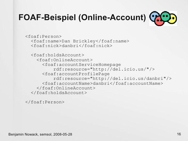 FOAF-Beispiel (Online-Account)           <foaf:Person>            <foaf:name>Dan Brickley</foaf:name>            <foaf:nic...