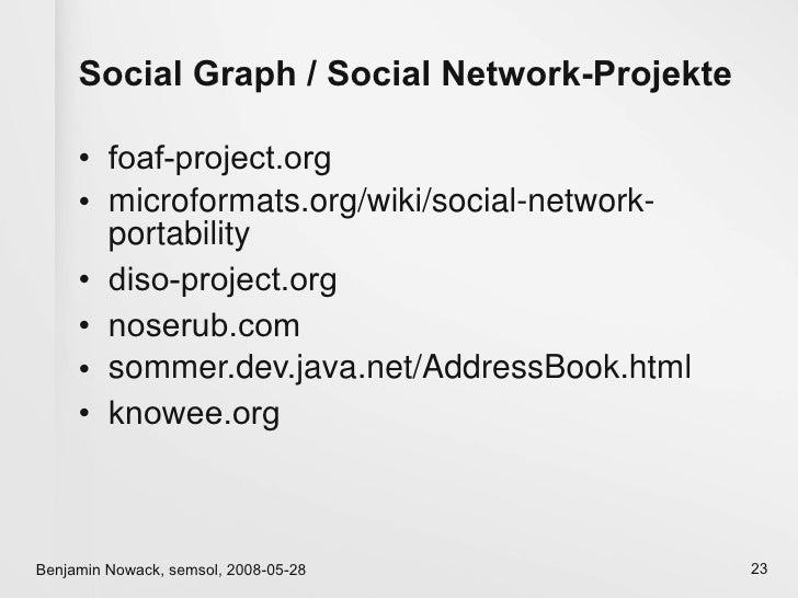 Social Graph / Social Network-Projekte       • foaf-project.org      • microformats.org/wiki/social-network-        portab...