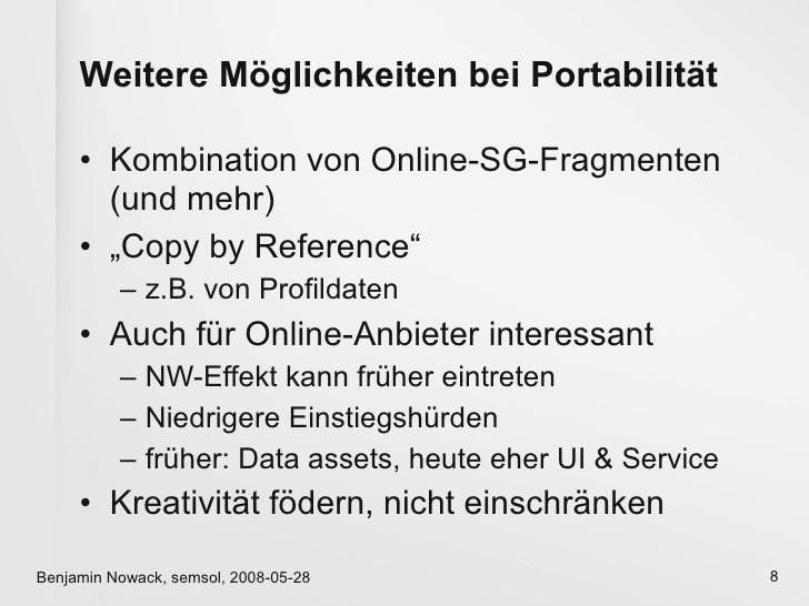 """Weitere Möglichkeiten bei Portabilität       • Kombination von Online-SG-Fragmenten        (und mehr)      • """"Copy by Refe..."""