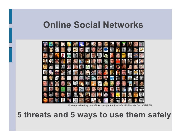 threats of social networking Security threats from social networking/media over the past few years social  networking has become widely popularized and used by people of all ages.
