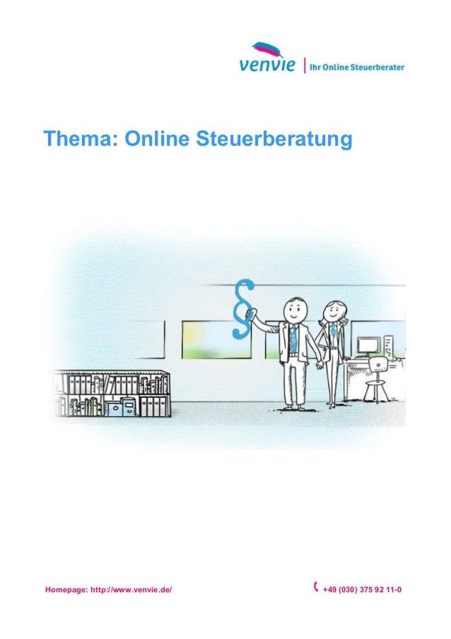 Thema: Online Steuerberatung Homepage: http://www.venvie.de/ +49 (030) 375 92 11-0