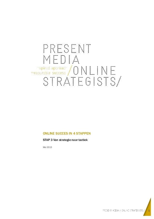 1ONLINE SUCCES IN 4 STAPPENSTAP 3 Van strategie naar tactiekMei 2013