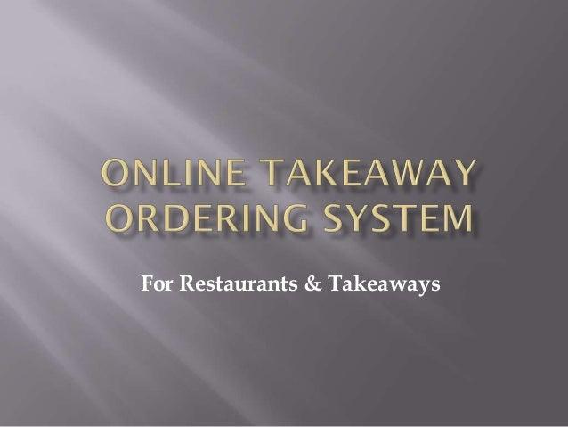 For Restaurants & Takeaways