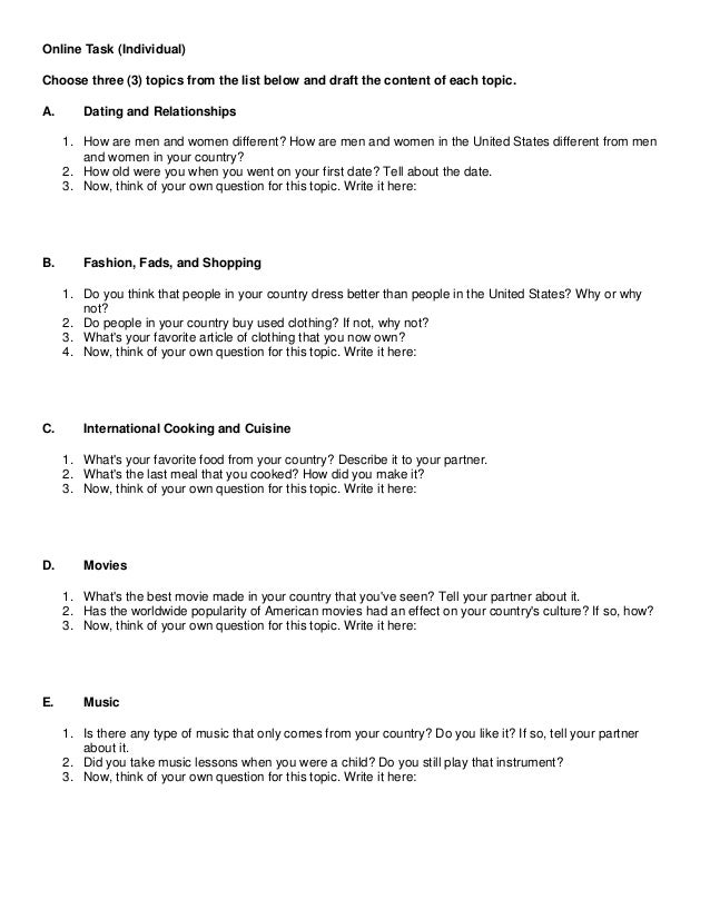Online Task (Individual) Choose three (3) topics from the list below and draft the content of each topic. A.  Dating and R...