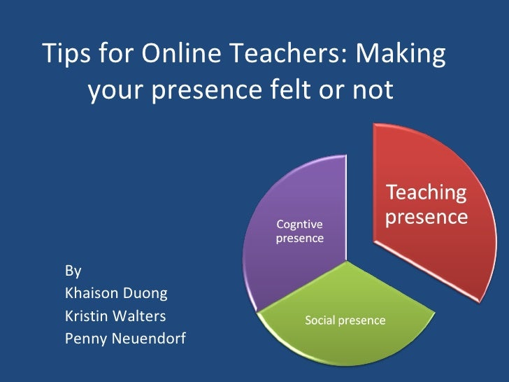 Tips for Online Teachers: Making your presence felt or not  By Khaison Duong Kristin Walters Penny Neuendorf