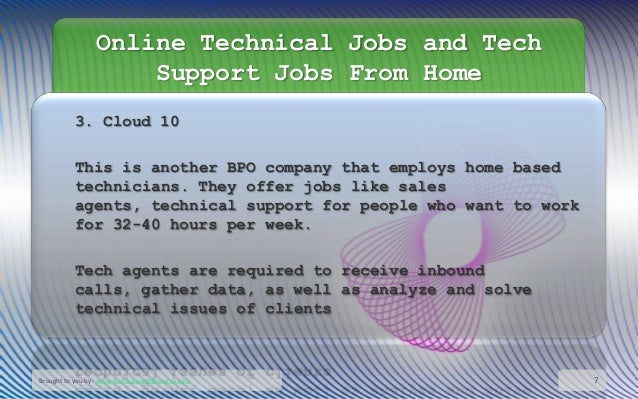 Online tech support jobs from home