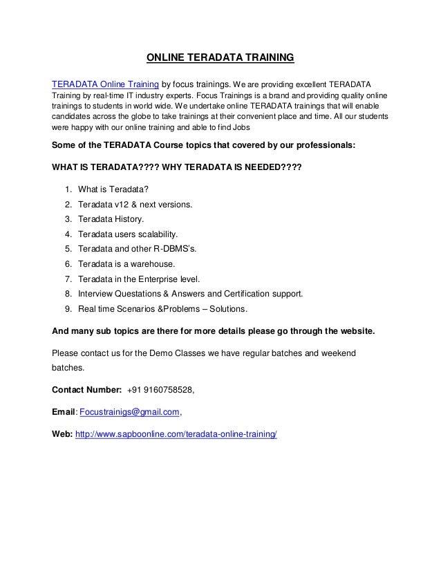 Online Teradata Training