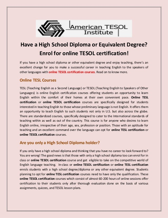 Online tesol certification courses
