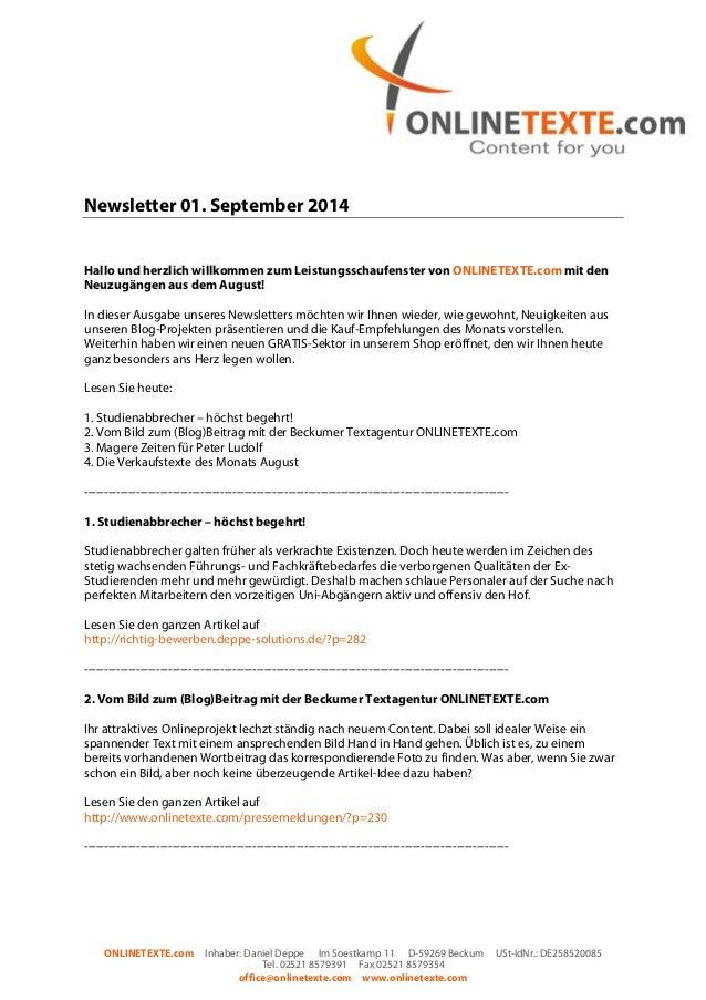 Newsletter 01. September 2014  Hallo und herzlich willkommen zum Leistungsschaufenster von ONLINETEXTE.com mit den  Neuzug...