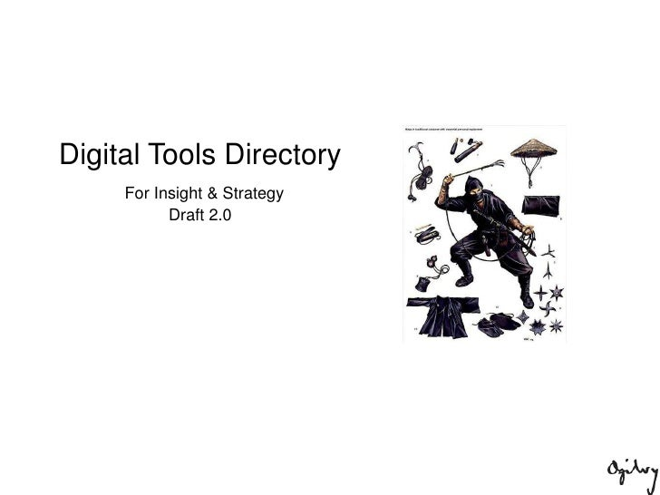 Digital Tools Directory<br /> For Insight & Strategy<br />Draft 2.0<br />