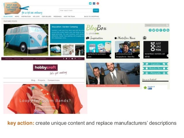 key action: create unique content and replace manufacturers' descriptions