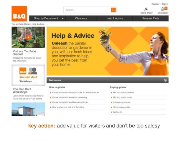 key action: add value for visitors and don't be too salesy