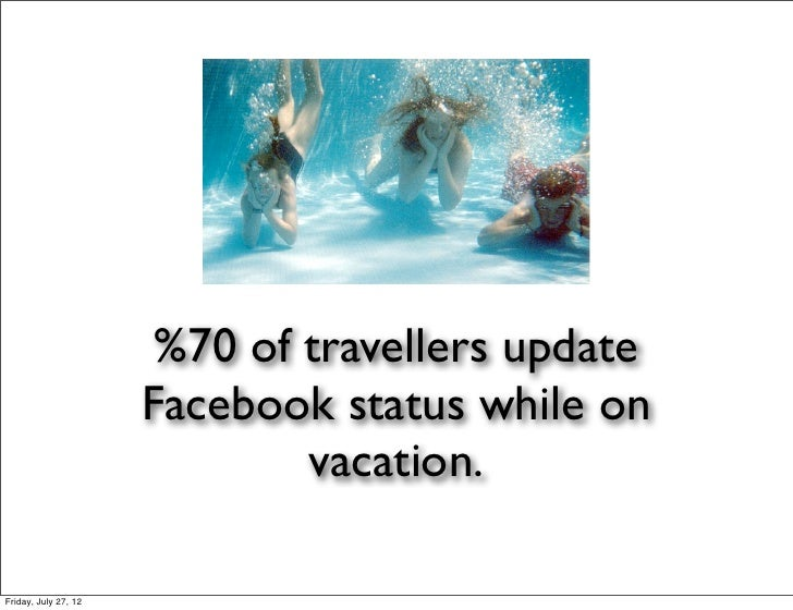 %70 of travellers update                      Facebook status while on                              vacation.Friday, July ...