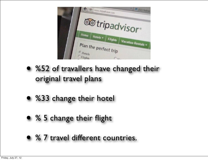 • %52 of travallers have changed their                        original travel plans                      • %33 change thei...