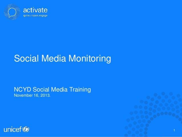 Social Media Monitoring  NCYD Social Media Training November 16, 2013.  1 1