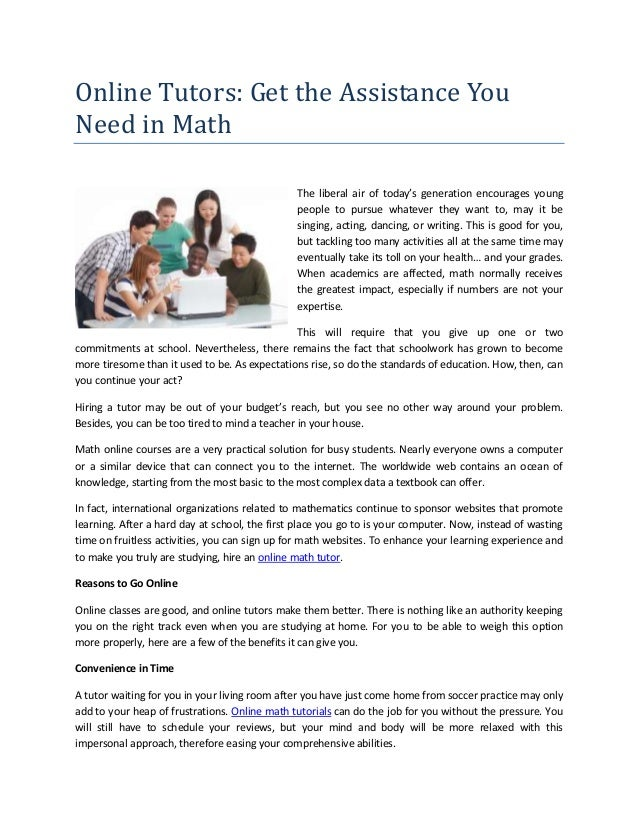 Online tutors get the assistance you need in math