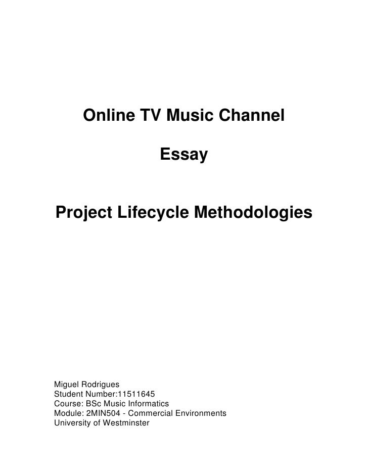 Online TV Music Channel                           Essay   Project Lifecycle Methodologies     Miguel Rodrigues Student Num...