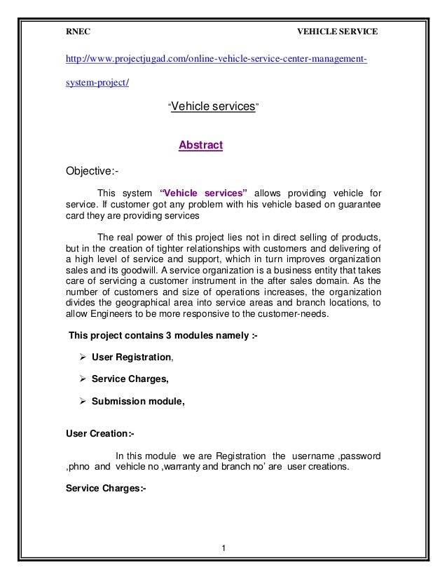 Online vehicle service center management system project report