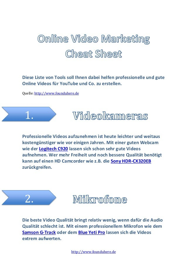 http://www.founduhere.de Diese Liste von Tools soll Ihnen dabei helfen professionelle und gute Online Videos für YouTube u...