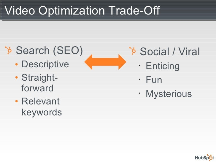 Video Optimization Trade-Off <ul><li>Search (SEO) </li></ul><ul><ul><li>Descriptive </li></ul></ul><ul><ul><li>Straight- f...