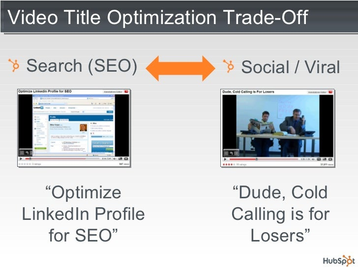"Video Title Optimization Trade-Off <ul><li>Search (SEO) </li></ul><ul><li>Social / Viral </li></ul>"" Optimize LinkedIn Pro..."