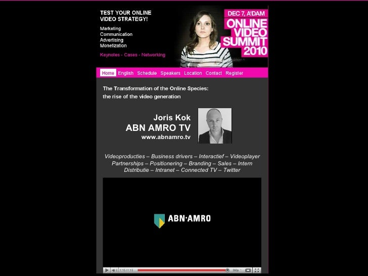 Joris Kok ABN AMRO TV www.abnamro.tv Videoproducties – Business drivers – Interactief – Videoplayer Partnerships – Positio...