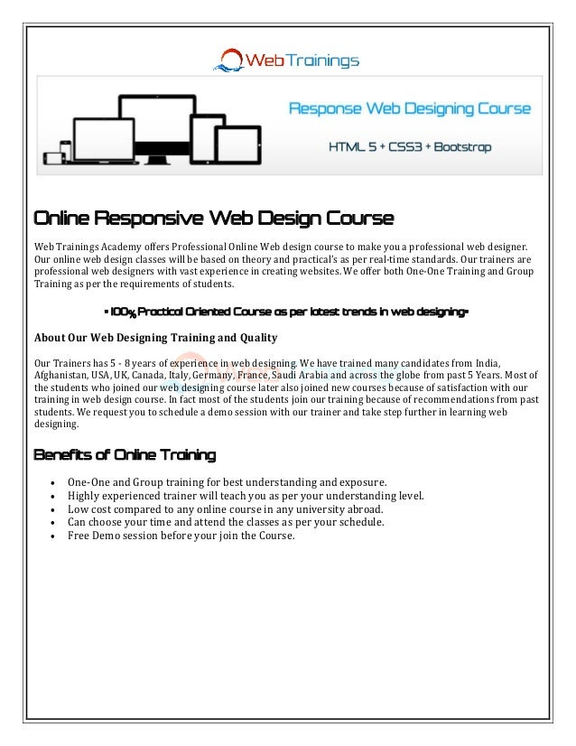 Online Responsive Web Design Course Web Trainings Academy offers Professional Online Web design course to make you a profe...