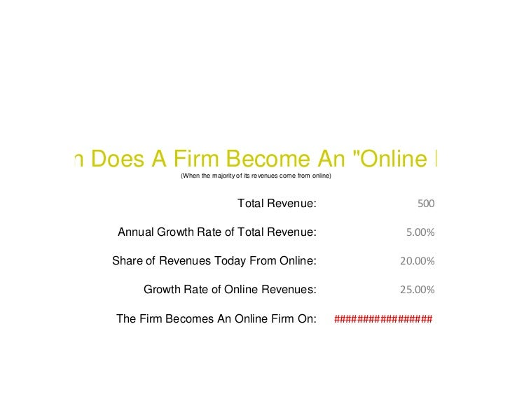 """When Does A Firm Become An """"Online Firm""""                    (When the majority of its revenues come from online)          ..."""