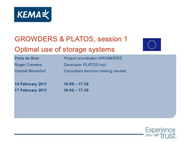 GROWDERS & PLATOS, session 1 Optimal use of storage systems Petra de Boer Project coordinator GROWDERS Roger Cremers Devel...