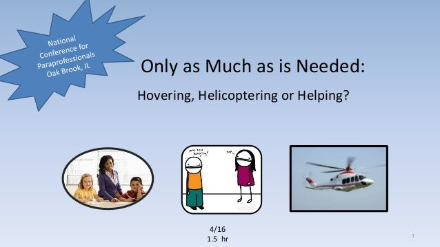 Only as Much as is Needed: Hovering, Helicoptering or Helping? 4/16 1.5 hr 1