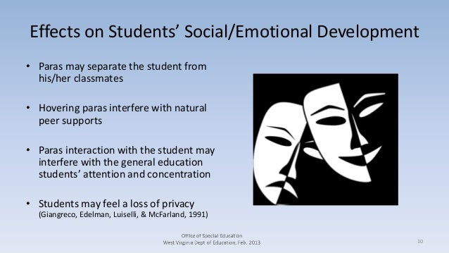 Effects on Students' Social/Emotional Development • Paras may separate the student from his/her classmates • Hovering para...