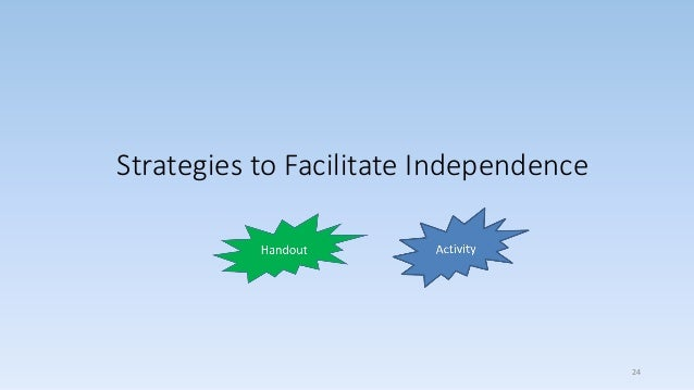 Strategies to Facilitate Independence 24