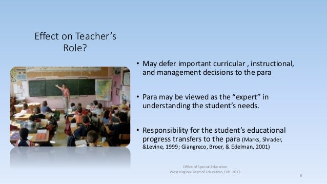 Effect on Teacher's Role? • May defer important curricular , instructional, and management decisions to the para • Para ma...