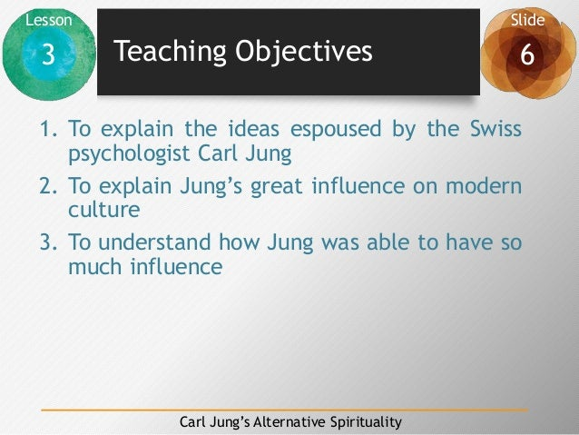 Lesson Slide 3 6 Carl Jung's Alternative Spirituality Teaching Objectives 1. To explain the ideas espoused by the Swiss ps...