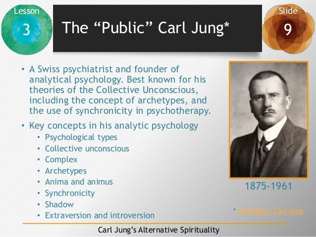 """Lesson Slide 3 9 Carl Jung's Alternative Spirituality The """"Public"""" Carl Jung* • A Swiss psychiatrist and founder of analyt..."""
