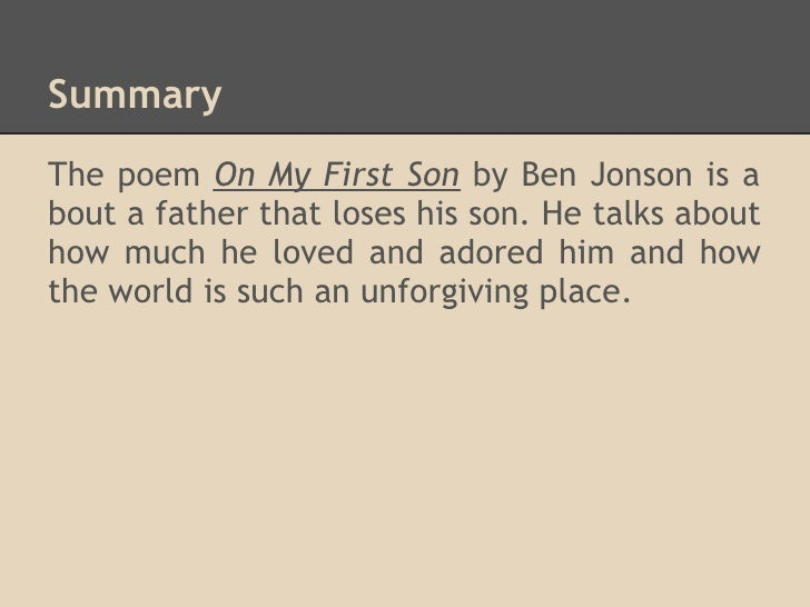 on my first son summary