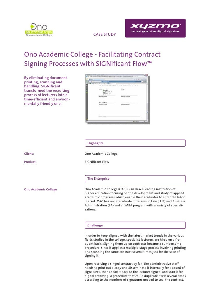 INFO                              CASE STUDY    Ono Academic College - Facilitating Contract Signing Processes with SIGNif...