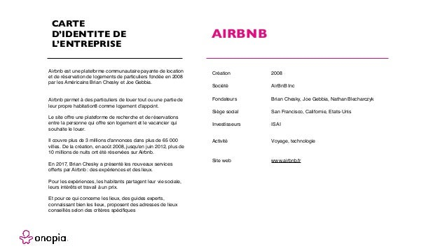CARTE D'IDENTITE DE L'ENTREPRISE Airbnb est une plateforme communautaire payante de location et de réservation de logement...