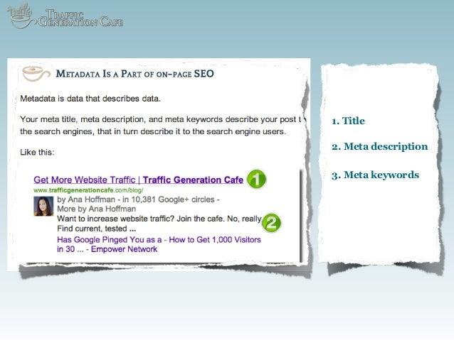 1. Title 2. Meta description 3. Meta keywords