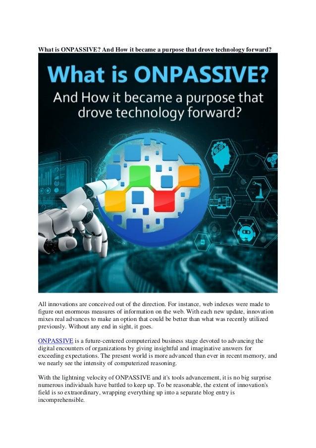 Onpassive evolution of technology Slide 2